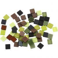 Mini-Mosaik, Größe 5x5 mm, Grün mit Glitter, 25 g/ 1 Pck