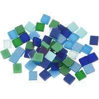 Mini-Mosaik, Größe 5x5 mm, Harmonie in Blau-Grün, 25 g/ 1 Pck