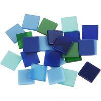 Mini-Mosaik, Größe 10x10 mm, Harmonie in Blau-Grün, 25 g/ 1 Pck
