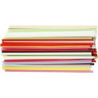 Bastelhalme, L: 12,5 cm, D: 3 mm, Sortierte Farben, 3200 Stk/ 1 Pck