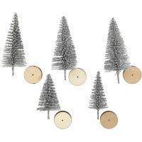 Weihnachtsbäume, H: 40+60 mm, Silber, 5 Stk/ 1 Pck