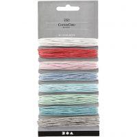 Baumwollband, Dicke 1 mm, Sortierte Farben, 8x5 m/ 1 Pck