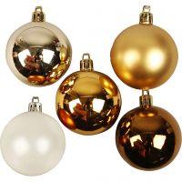 Weihnachtsbaumkugeln, D: 6 cm, Golden, 20 Stk/ 1 Pck