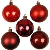 Weihnachtsbaumkugeln, D: 6 cm, Rottöne, 20 Stk/ 1 Pck