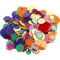 Pailletten - Sortiment, rund, Größe 10-25 mm, Sortierte Farben, 250 g/ 1 Pck