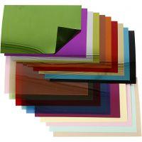 Sequin Folienblätter, 15,8x11 cm, Dicke 0,25 mm, 20 Bl. sort./ 1 Pck