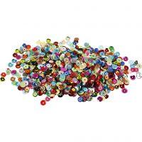 Pailletten - Sortiment, rund, D: 6 mm, 100 g/ 1 Pck