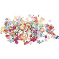 Pailletten - Sortiment, D: 5-20 mm, Pastellfarben, 10 g/ 1 Pck