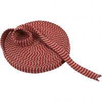 Strickschlauch, B: 22 mm, Weihnachtsrot/Grau, 10 m/ 1 Rolle