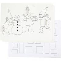 Adventkalender mit Wichtelmännern bei der Schneeballschlacht, A3, 30 Stk/ 1 Pck