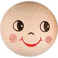 Wattekugeln mit Gesicht, D: 30 mm, 10 Stk/ 1 Pck