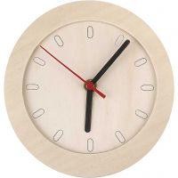 Uhr mit Holzrahmen, D: 15 cm, 1 Stk