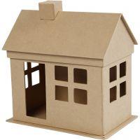 Pappmaché-Haus, H: 23 cm, Tiefe 14,5 cm, L: 22,5 cm, 1 Stk
