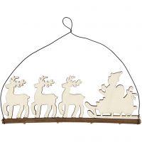 Weihnachtsschmuck, Schlitten mit Rentieren, H: 8 cm, Tiefe 0,5 cm, B: 22 cm, 1 Stk