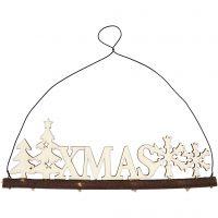 Weihnachtsschmuck, Schriftzug XMAS, H: 7 cm, Tiefe 0,5 cm, B: 22 cm, 1 Stk