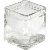 Kerzenglas, H: 5,5 cm, Größe 5,5x5,5  cm, 12 Stk/ 1 Box