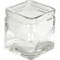 Kerzenglas, H: 8 cm, Größe 7,5x7,5 cm, 12 Stk/ 1 Box