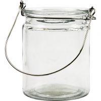 Kerzenglas/Laterne, H: 10 cm, D: 7,6 cm, 12 Stk/ 1 Box