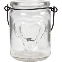 Kerzenglas/Laterne, H: 9,5 cm, D: 6,5 cm, 2 Stk/ 1 Pck