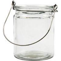 Kerzenglas/Laterne, H: 10 cm, D: 7,6 cm, 2 Stk/ 1 Pck