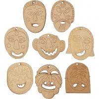 Masken-Anhänger, Größe 5,5-7 cm, Dicke 4 mm, 24 Stk/ 1 Pck