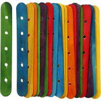 Eisstiele mit Lochung, L: 15 cm, B: 1,8 cm, Lochgröße 4 mm, Sortierte Farben, 20 sort./ 1 Pck