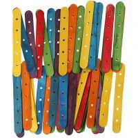 Eisstiele mit Lochung, L: 15 cm, B: 1,8 cm, Lochgröße 4 mm, Sortierte Farben, 500 sort./ 1 Pck