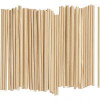 Holzstäbe rund, L: 15 cm, D: 4 mm, 100 Stk/ 1 Pck
