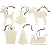 Weihnachtsaufhänger, Größe 7-9 cm, Dicke 4 mm, 6 Stk/ 1 Pck