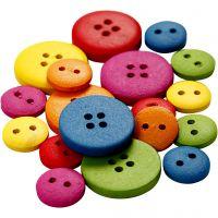 Holzknöpfe, D: 12-20 mm, 2 + 4 Löcher, Sortierte Farben, 360 Stk/ 1 Pck
