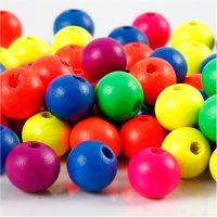 Perlen-Mix in Neonfarben, D: 10 mm, Lochgröße 2,5 mm, Neonmix, 18 g/ 1 Pck