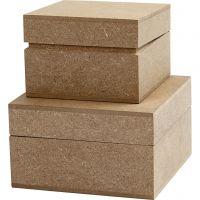 Schachtel, quadratisch, H: 4,8+5,5 cm, Größe 7,5+9,5 cm, 2 Stk/ 1 Pck