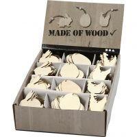 Holzornamente, Kaninchen, Ei, Huhn, Größe 6 cm, Dicke 3 mm, 200 Stk/ 1 Pck