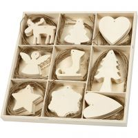 Holzornamente, Weihnachten, Größe 7-8 cm, 72 Stk/ 1 Pck