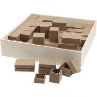 Mini-Holzkästen - Sortiment, H: 2,5-5 cm, 4x15 Stk/ 1 Pck