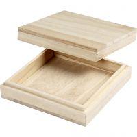 Holzkasten, H: 3 cm, Größe 10x10 cm, 1 Stk