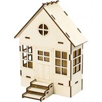Haus-Bausatz, H: 24 cm, Tiefe 6(12,5) cm, B: 19 cm, 1 Stk