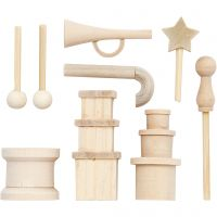 Kleine Gegenstände aus Holz, L: 2-5,5 cm, 1 Pck