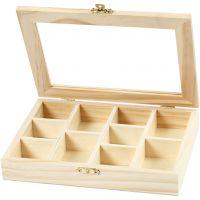 Kiste mit Glasdeckel, Größe 15,5x20,5x3,5 cm, 1 Stk