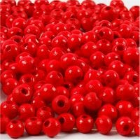 Holzperlen, D: 5 mm, Lochgröße 1,5 mm, Rot, 6 g/ 1 Pck, 150 Stck.