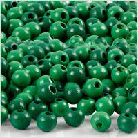 Holzperlen, D: 5 mm, Lochgröße 1,5 mm, Grün, 6 g/ 1 Pck, 150 Stck.
