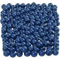 Holzperlen, D: 5 mm, Lochgröße 1,5 mm, Blau, 6 g/ 1 Pck, 150 Stck.