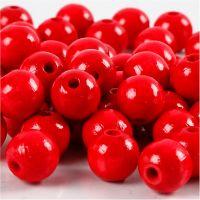 Holzperlen, D: 12 mm, Lochgröße 3 mm, Rot, 22 g/ 1 Pck