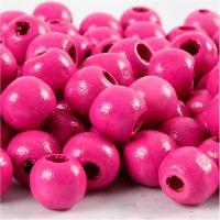 Holzperlen, D: 12 mm, Lochgröße 3 mm, Pink, 22 g/ 1 Pck, 40 Stck.