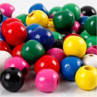 Holzperlen-Mix, D: 10 mm, Lochgröße 3 mm, Sortierte Farben, 230 g/ 1 Pck