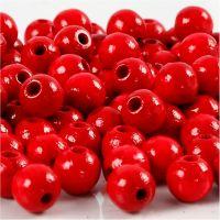 Holzperlen, D: 8 mm, Lochgröße 2 mm, Rot, 15 g/ 1 Pck, 80 Stck.
