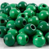 Holzperlen, D: 10 mm, Lochgröße 3 mm, Grün, 20 g/ 1 Pck