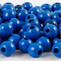 Holzperlen, D: 10 mm, Lochgröße 3 mm, Blau, 20 g/ 1 Pck