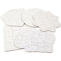 Puzzles, Größe 17-21 cm, Weiß, 10 Stk/ 1 Pck