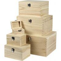 Holzkästen-Set , H: 5+7+9+11+13+15 cm, L: 8+11,8+15,8+20+24+27,7 cm, B: 5,8+8,8+12+15+18+21 cm, 6 Stk/ 1 Set